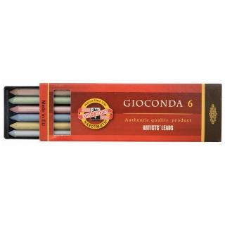 Стержни графитовые для цанговых карандашей Gioconda KOH-I-NOOR цветные, 5,6 мм, твердость HB, набор 6 шт.