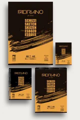Альбом для зарисовок Fabriano Schizzi 90г/м.кв 14,8x21см мелкозернистая бумага, 60л спираль по короткой стороне