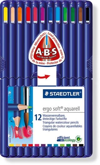 Набор цветных карандашей акварельных ergosoft, треугольные, 12 шт в наборе