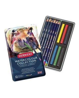 Набор акварельных карандашей и блоков Derwent Watercolour Collection, 12 предм. в метал. пенале