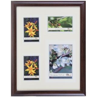 Мультирамка пластиковая с паспарту на 4 фото МирРамок, (3 фото 10*15, 1 фото 15*21), №742, черный