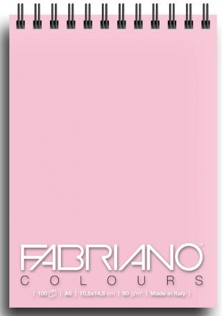 Блокнот для зарисовок Fabriano Colours 80г/м.кв 10,5x14,8см Розовый 100л спираль по короткой стороне