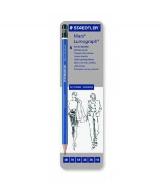 Набор чернографитовых карандашей LUMOGRAPH 100, 6 штук в металлической коробке