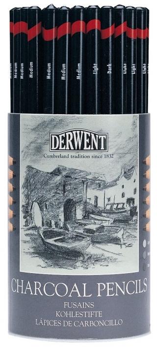 Набор угольных карандашей Derwent Charcoal 72шт в тубусе
