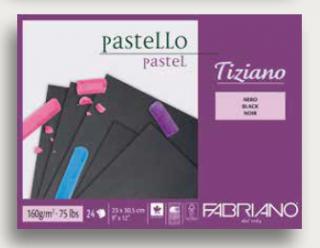 Альбом для пастели Fabriano Tiziano 160г/м.кв 30,5x41см черные листы 24л склейка по 1 стороне