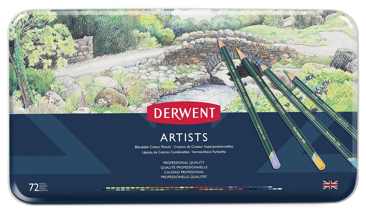 Набор цветных карандашей Derwent Artists 72 цвета, металлический пенал