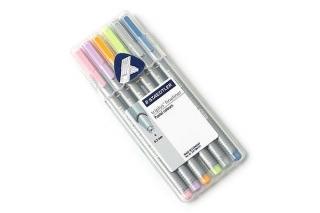 Набор капиллярных ручек Triplus, 6 цветов, пастельные, пенал-подставка