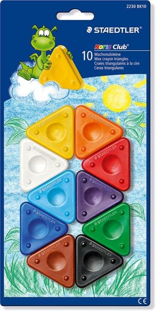 Набор восковых мелков Noris Club 10 цветов, треугольные, картон