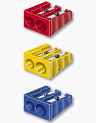 Дисплей с пластиковыми точилками, двойные, 50 штук