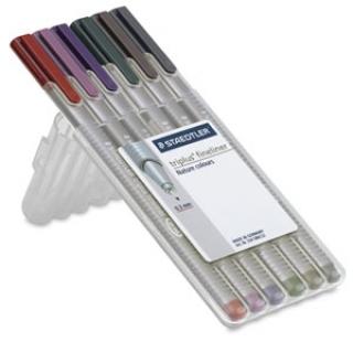 Набор капиллярных ручек Triplus, 6 цветов, пенал-подставка