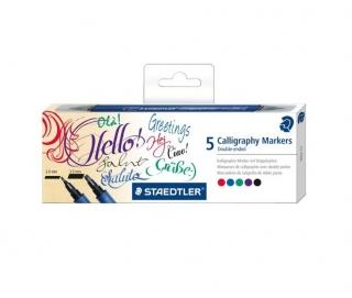 Набор каллиграфических двухсторонних маркеров, 2 мм и 3,5 мм, 5 цветов в наборе