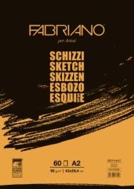 Альбом для рисования Fabriano Schizzi 90г/м.кв 42x59,4см мелкозернистая темная обложка 60л склейка по короткой стороне