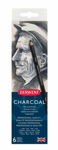 Набор угольных карандашей Derwent Charcoal 6шт с точилкой, металлический пенал