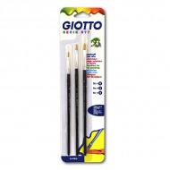 Набор плоских кистей из натуральной щетины № 0, 2, 4 GIOTTO Pennelli Brushes FILA, 3 шт.