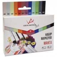 """Набор маркеров для творчества Vista-Artista """"Style"""" 12цв., пулевидный/скошенный, 0.7мм/1-7мм, Манга"""