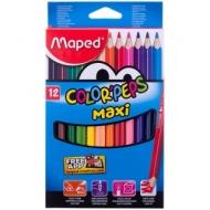 """Карандаши Maped """"Color Peps Maxi"""", 12цв., трехгран., утолщенные, заточен., картон, европодвес"""