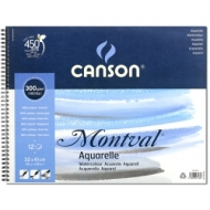 Альбом для акварели Canson Montval 300г/кв.м (целлюлоза) 32*41см 12листов Фин спираль по короткой стороне