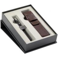 """Набор Parker: ручка перьевая """"Sonnet Black Lacquer CT"""", 1,0мм и чехол из экокожи, подар. уп."""