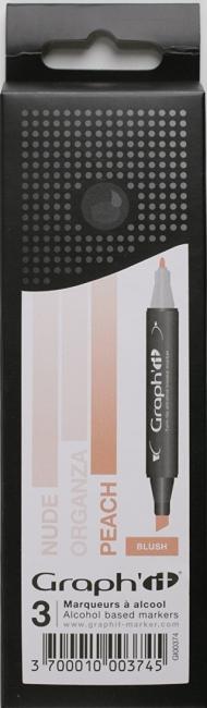 Набор маркеров Graph-It 3 штуки Blush (оттенки румянец) в пластиковой упаковке