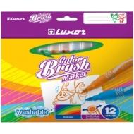 """Фломастеры с кистевым пишущим узлом Luxor """"Color Brush"""", 12цв., смываемые, картон, европодвес"""