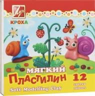 Пластилин Кроха ЛУЧ мягкий со стеком, 12 цв., 250г