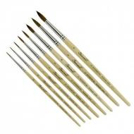 Круглые кисти колонок микс Сонет, короткая ручка, №00-№6