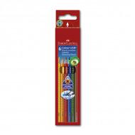 Цветные акварельные карандаши FABER-CASTELL Colour Grip 2001 трехгранные, 6 цветов