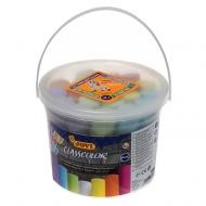 Мел цветной Jovi, набор 20 шт., для рисования на асфальте, круглый, пластиковое ведро