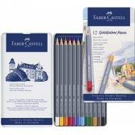 Акварельные карандаши Faber-Castell Goldfaber Aqua, 12 цветов, металлический пенал