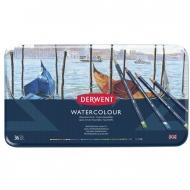 Набор акварельных карандашей Derwent Watercolour 36 цветов, металлический пенал