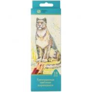 """Карандаши Сибирский кедр """"Дикие кошки"""", 18цв., трехгран., заточен., картон, европодвес"""
