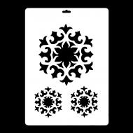 Гибкий трафарет Сонет НЕВСКАЯ ПАЛИТРА, Орнаментальная розетка - Снежинка, 22х31 см