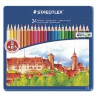 """Карандаши цветные Staedtler """"Noris club"""", 24 цвета, заточенные, металлический пенал, 145 CM24"""