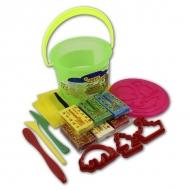 Набор для лепки JOVI в пластиковом ведре: пластилин, формочки, стеки, клеенка
