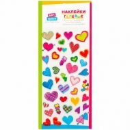 """Наклейки гелевые ArtSpace """"Сердечки"""", 10*19см, пакет, европодвес"""