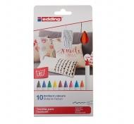 Набор перманентных маркеров для рисования по ткани Textile EDDING 4600, 1 мм, 10 цветов
