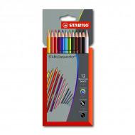 Цветные акварельные карандаши STABILOaquacolor для рисования, набор 12 цветов