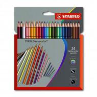 Цветные акварельные карандаши STABILOaquacolor для рисования, набор 24 цвета