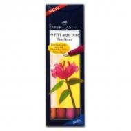 Набор капиллярных ручек Faber-Castell Pitt artist pens Fineliner, 4 шт., теплые цвета, оттенки красного