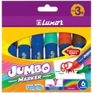 """Фломастеры Luxor """"Jumbo"""", 06цв., утолщенные, смываемые, картон, европодвес"""