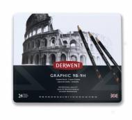 Набор чернографитных карандашей Derwent Graphic 24шт, металлический пенал