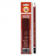 Набор чернографитных карандашей Koh-I-Noor KIN «Forum», 5 шт, твердость НВ, B, H, 2H, 2B