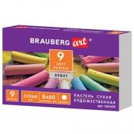 """Пастель сухая художественная """"Debut"""" Brauberg Art, 9 цветов, круглое сечение"""