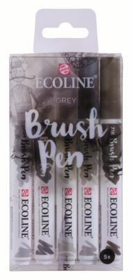 Набор акварельных маркеров Royal Talens Ecoline Brush Pen Серые 5 штук в пластиковой упаковке