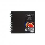 Блокнот для зарисовок Fabriano BlackDrawingBook 190г/м.кв 15x15см черная бумага, 40л, квадратный,  спираль