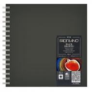Блокнот для зарисовок Fabriano BlackDrawingBook 190г/м.кв 30x30см черная бумага, 40л спираль по короткой стороне