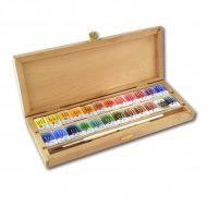 Подарочный набор акварели «Белые ночи» Невская Палитра в шкатулке, 24 цвета и кисть