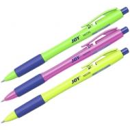 """Ручка шариковая автоматическая Erich Krause """"Ultra Glide Technology Joy Neon"""" синяя, 0,7мм, грип"""