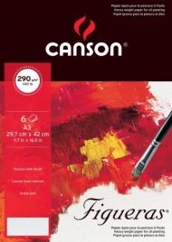 Папка с бумагой для масла Canson Figueras 290г/кв.м 29.7*42см зерно холста 6листов