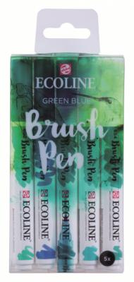 Набор акварельных маркеров Royal Talens Ecoline Brush Pen Зеленые-Синие 5 штук в пластиковой упаковке